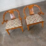 Chinoiserie Ming Style Pair of Yoke Back Lounge Chairs Attributed to Schnadig Furniture