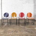 Vintage Postmodern Dakota Jackson Vik – Ter Dining Chairs Red Yellow Orange and Blue