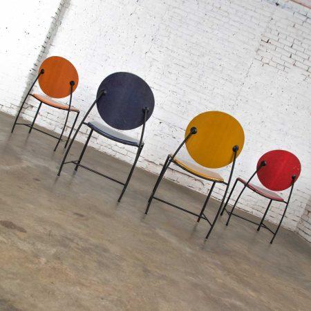 Vintage Postmodern Dakota Jackson Vik - Ter Dining Chairs Red Yellow Orange Blue