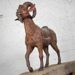 Large Hand Carved Wood Carousel Style Ram Big Horn Sheep