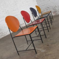 Vintage Postmodern Dakota Jackson Vik – Ter Dining Chairs Red Yellow Orange and Blue