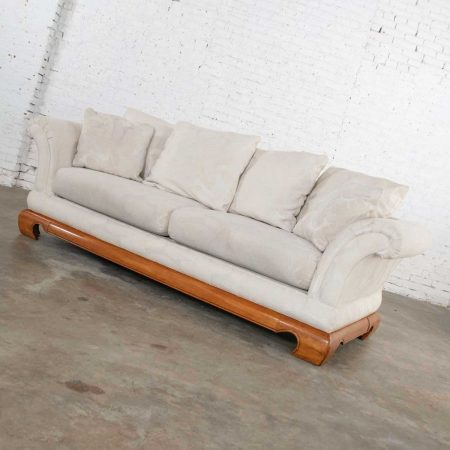 Chinoiserie Chow Leg Ming Style Sofa by Schnadig International Furniture Hollywood Regency Flair