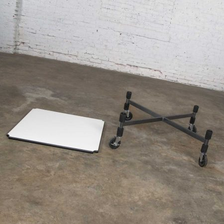 Post-Modern White Laminate & Metal Low Coffee Table or End Table on Casters Style Brian Kane
