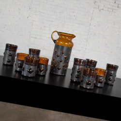 Imprisoned Mexican Glass Brutalist Modern Cocktail Set Amber & Blackened Metal by Filipe Derflingher