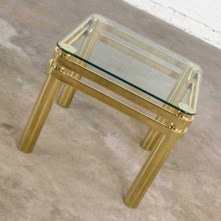 Vintage Modern Brass & Glass Side End Table with Glass Top Style Pace or Springer