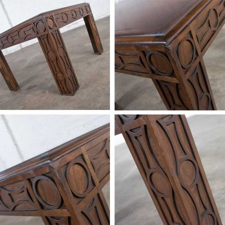 Vintage Modern Square Lane End or Side Table with Carved Leg Design & Chevron Veneer Top