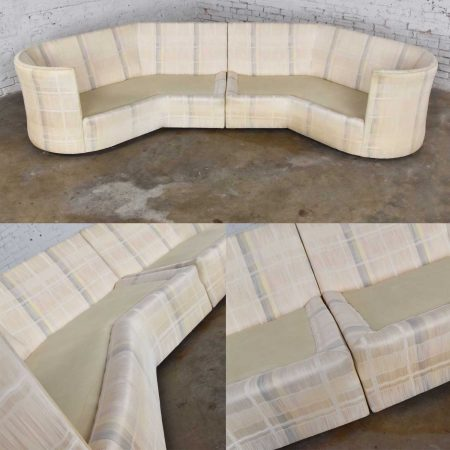 Vintage Modern or Art Deco Revival Two Piece Angled Sectional Sofa by Dansen for Hekman