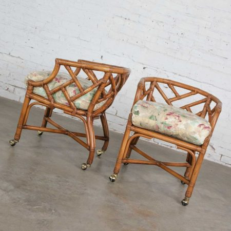 Vintage Pair Chinese Chippendale Rattan Rolling Accent Chairs Wicker by Henry Link