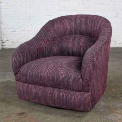 Vintage Modern Tub Shaped Swivel Rocking Chair in Eggplant Purple Upholstery