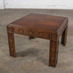 Vintage Modern Square Lane End or Side Table with Carved Leg Design & Chevron Veneer Top