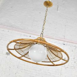 MCM Vintage Rattan Bell Shaped Pendant Light with Milk Glass Globe & Brass Plated Accents