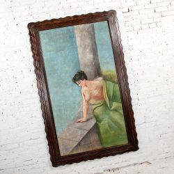 "Monumental 6' 6.5"" Pastel Victorian Gibson Girl Style Portrait of Lounging Female in Blues & Pink"