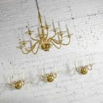 Czech Bohemian Blown Glass and Brass 12 Arm Chandelier & 3 Wall Sconces Mid 20th Century