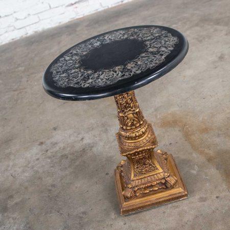 Neoclassic Hollywood Regency Gilded Plaster Round Pedestal Side Table & Black Top