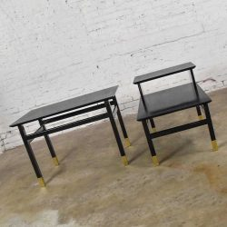 Pair Mid Century Modern Side Tables Black with Brass Sabots Style of Harvey Probber