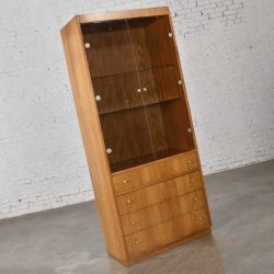 Mid Century Modern Oak Veneer Display Cabinet with Smoked Glass Doors and Brass Pulls
