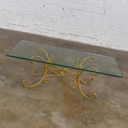 Vintage Italian Gilded Twisted Iron Rope Coffee or Cocktail Table with Rectangle Glass Top