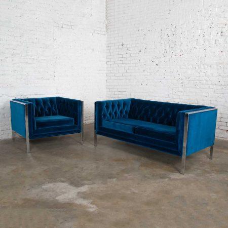 MCM Royal Blue Velvet & Chrome Cube Loveseat & Chair After Milo BaughmanMCM Royal Blue Velvet & Chrome Cube Loveseat & Chair After Milo Baughman