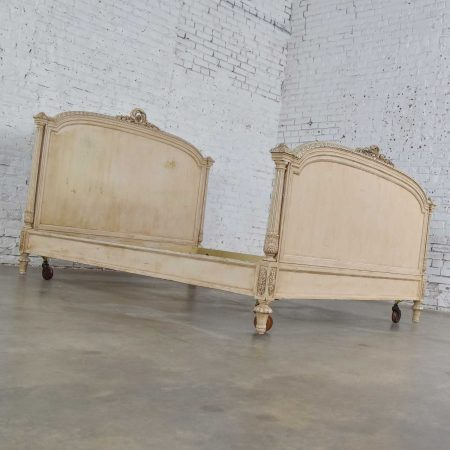 Antique French Louis XVI Style Distressed Off White Painted Queen Bed Antique French Louis XVI Style Distressed Off White Painted Queen Bed