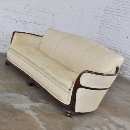 Vintage Art Deco or Art Nouveau Sofa with Walnut Frame & Trim from Vargas Fine Furniture Topeka KS