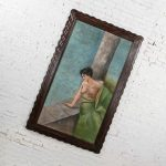 """Monumental 6' 6.5"""" Pastel Victorian Gibson Girl Style Portrait of Lounging Female in Blues & Pink"""