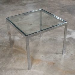 Vintage Mid Century Modern Chrome & Glass Parsons End or Side Table after Baughman