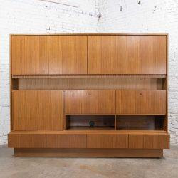 Mid Century Modern Teak Veneer German Shrunk Wall Unit Secretary Liquor Cabinet 2 Piece