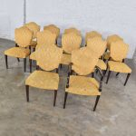 Georgian Revival Sheraton or Federal Style Upholstered Shield Back Dining Chairs Set of 12