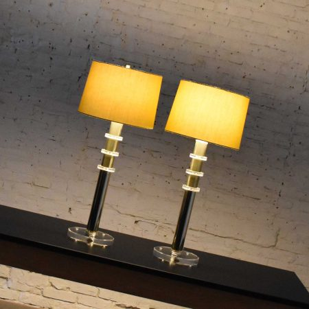 Vintage Modern or Hollywood Regency Lucite and Brass Plate Lamps 2 Pair in the Style of Karl Springer