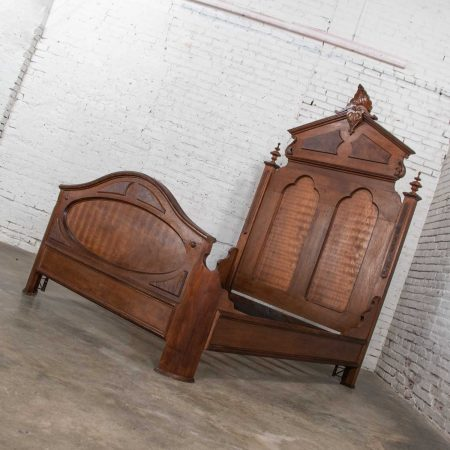 Antique Victorian Walnut & Burl Walnut Tall Lincoln Style Full Size Bed