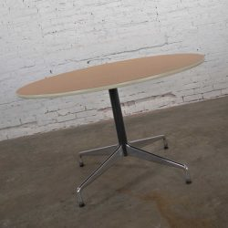 Eames Herman Miller Round Tables Universal Base Wood Grain Laminate Top