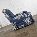Hollywood Regency Gray Chintz Cabbage Rose Floral Club Chair Swivel Rocker