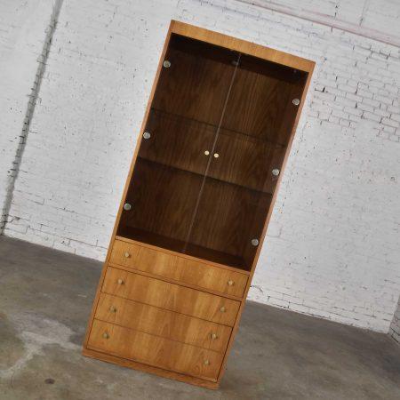 Mid Century Modern Oak Veneer Display Cabinet with Smoked Glass Doors and Brass Pulls