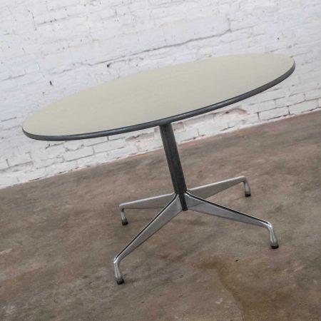 Eames Herman Miller Universal Base Round Table Off White Laminate Top