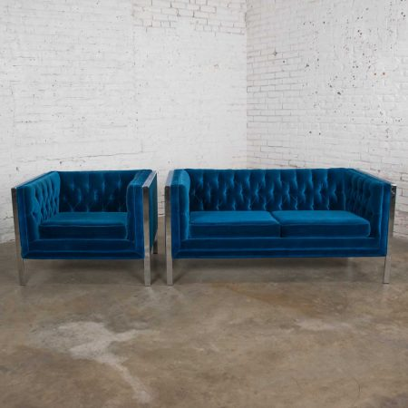 MCM Royal Blue Velvet & Chrome Cube Loveseat & Chair After Milo Baughman