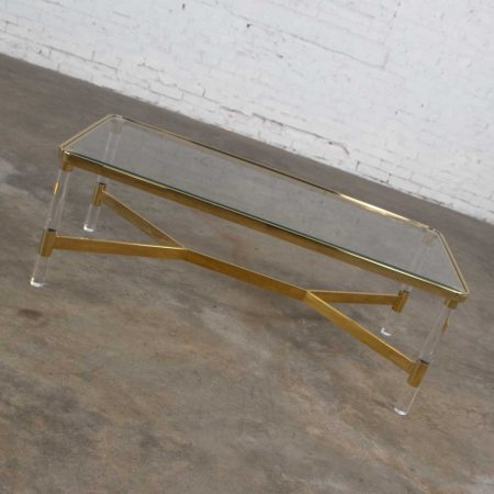 Vintage Modern Hollywood Regency Brass and Lucite Coffee or Cocktail Table in the Style of Karl Springer