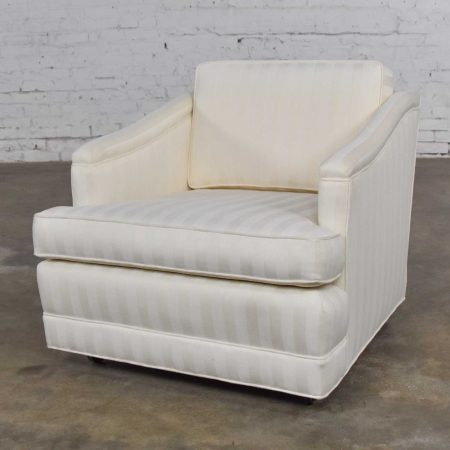 Mid Century Modern Off White Tone on Tone Stripe Lounge Chair on Rolling Casters