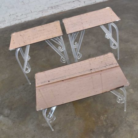 Hollywood Regency Art Deco Lucite & Rose Mirrored Tables a Set 1 Coffee & 2 End Tables
