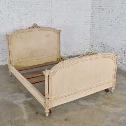 Antique French Louis XVI Style Distressed Off White Painted Queen Bed