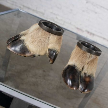 Vintage Taxidermy Caribou Hooves with Bronze Ash Tray Insert Vide-Poche or Candle Holder