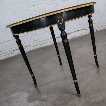 Round Neoclassical Dining Table or Center Table Black Age-Distressed Finish & Gold Detail