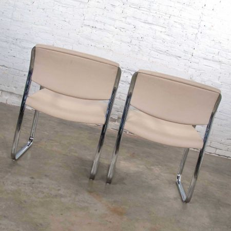Modern Pair Off White and Chrome Accent or Dining Armchairs by Steelcase