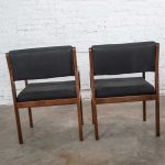 Modern Pair Black & Walnut Tone Wood Accent or Dining Armchairs by Haworth