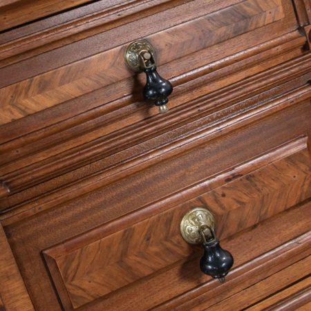 Antique Victorian Mirrored Dresser in Walnut & Burl Walnut with White Marble Top