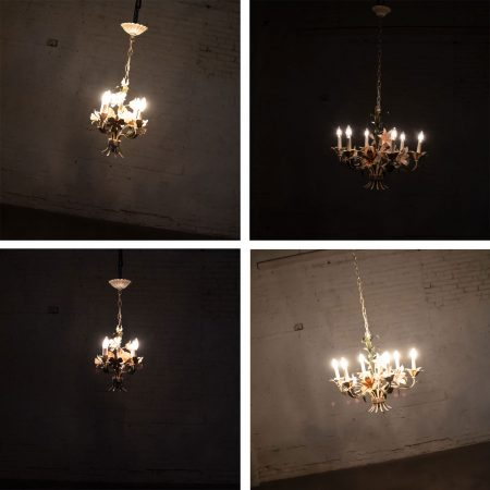 Trio Vintage Tole Painted Floral Chandeliers 2 with 6 Lights & 1 with 3 Lights