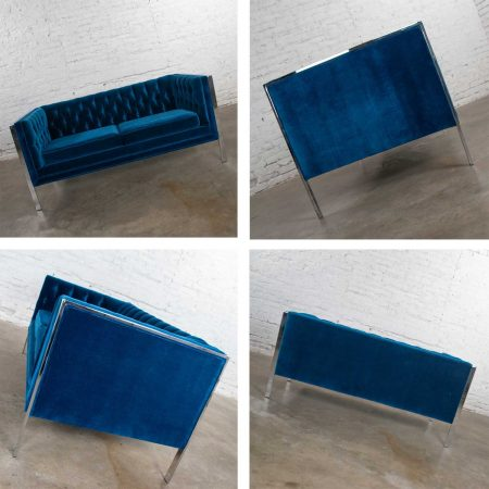 MCM Royal Blue Velvet & Chrome Cube Loveseat & Chair After Milo Baughman
