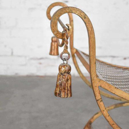 Gilded Wrought Iron Curule or Savonarola Italian Hollywood Regency Vanity Stool with Tassels