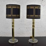 Modern Hollywood Regency Lucite & Brass Plate Lamps Black Shades a Pair Style Karl Springer