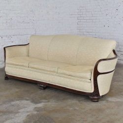 Vintage Art Deco or Art Nouveau Sofa with Walnut Frame & Trim from Vargas Fine Furniture Topeka KS