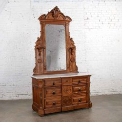 Antique Victorian Mirrored Dresser in Walnut & Burl Walnut with White Marble Top